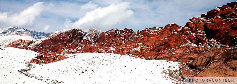 """Red Rock Snow, Panoramic No. 2"" ~ Snow at Calico Hills within Red Rock Canyon, Nevada.  The photo has been cropped to simulate the aspect ratio of panoramic film cameras such as the Linhof Technorama 617s."