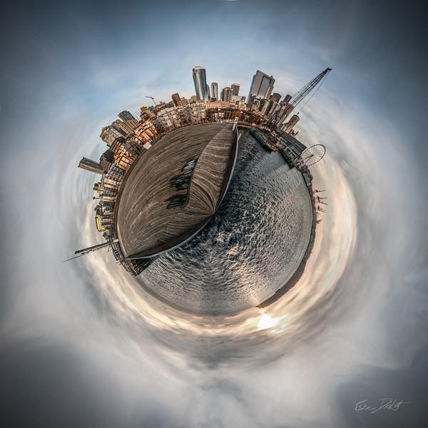 Seattle, Washington, Little Planet panorama