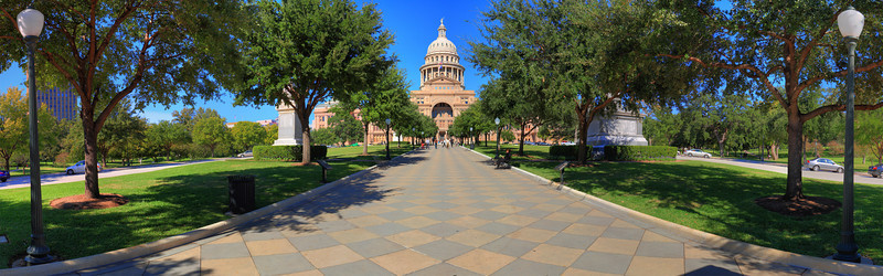 I had the day off yesterday so I ran DT and shot a panorama of the Texas State Capitol.  I must have been dead tired from working all night because I only took three rows of photos, not my usual 4....<br /> <br /> The Geek Speak:<br /> <br /> Camera:  Canon 7D<br /> Aperture:  11<br /> Shutter:  Don't remember<br /> ISO:  100<br /> Mode:  Manual<br /> <br /> Three images per frame at -2, 0, and 2.  Three rows of 180 degree images.  -15 degree, 0 degree, and + 15 degree vertical.  I used my 17-55 IS EF-S at 35mm.  I process the image with DPP, and used Photomatix Pro to HDR the frames.<br /> <br /> I then used Photoshop CS4 to make a panorama of the resulting HDR images.  I usually use Hugin, but I'm in the process of recompiling it on my iMac.  <br /> <br /> Here's the result