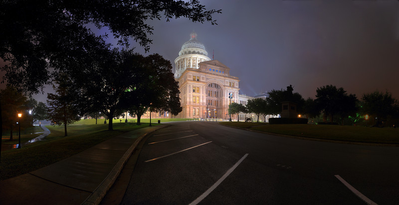 Shot in the same night as the above image...  I love the path to the left of the state capitol.