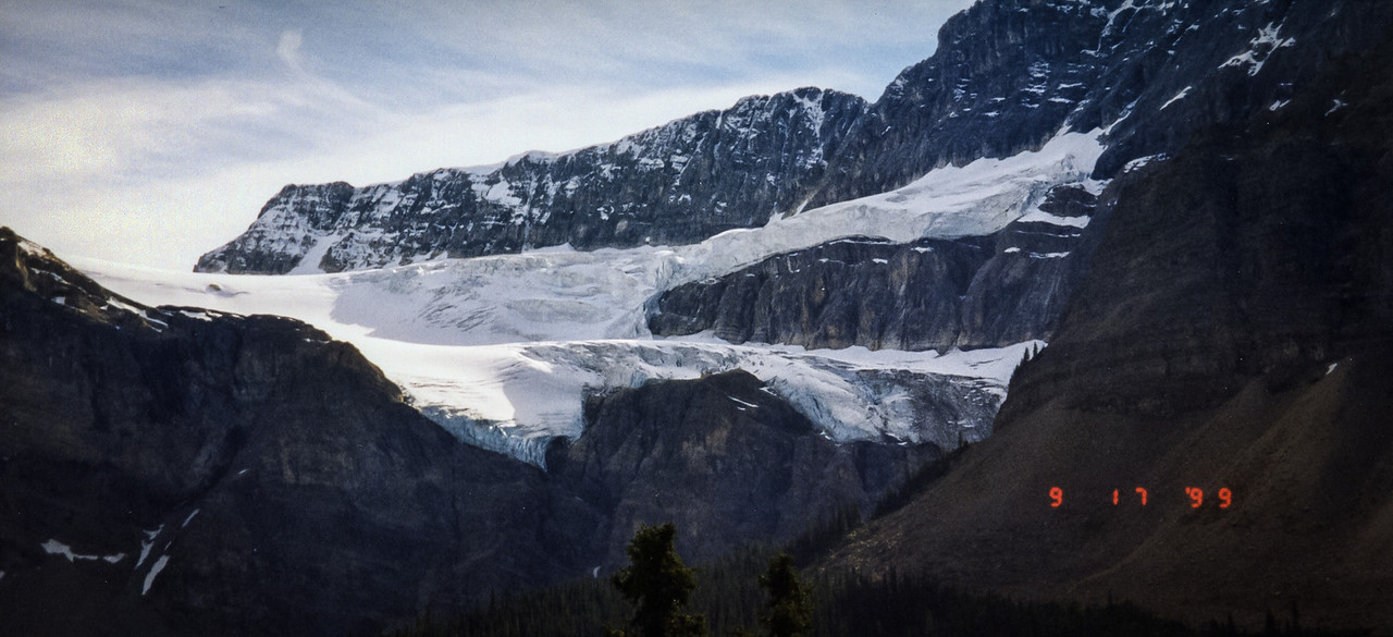 Panorama of a Hanging Glacier in Jasper National Park in Alberta Canada, shot with a Olympus P&S (time stamped) & scanned with an Epson V300, edited in Lightroom & Photoshop CS5.