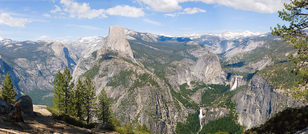 Half Dome, Vernal Falls and Nevada Falls from Glacier Point, Yosemite