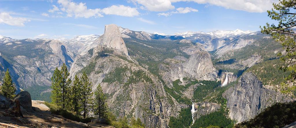 Half Dome, Vernal Falls and Nevada Falls from Glacier Point, Yosemite