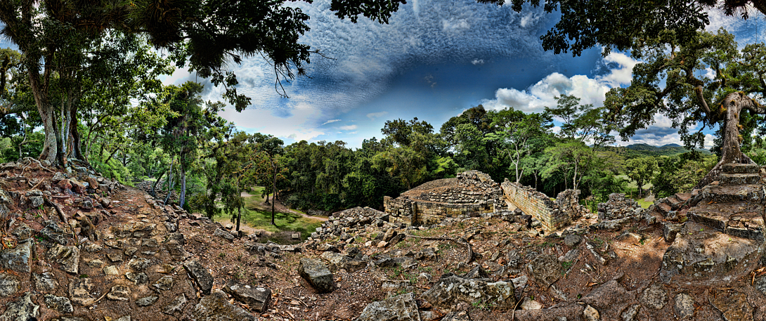 Taken from the top of one of the Mayan Pyramids at Copan in Honduras, shot with a Sony Alpha a300 on a Nodal Ninja Head & edited in PT GUI, Photoshop CS5 & Topaz Adjust