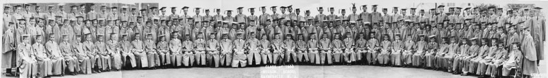 "1966 Wilson Junior High 8th grade boys graduating class.<br /> <br /> Navigate to the ""Original"" size of the picture for a close-up view.<br />  <a href=""http://stuartnafey.smugmug.com/Photography/Panoramas/11021048_sxv2t#770826485_AZgg4-O-LB"">http://stuartnafey.smugmug.com/Photography/Panoramas/11021048_sxv2t#770826485_AZgg4-O-LB</a><br /> <br /> The original picture was taken with a rotating panoramic camera. In order to maintain the perspective, we needed to arrange in a semi-circle around the photographer while the camera rotated from left to right, exposing the film through a slit. I created this panorama of the panorama by taking 6 close up images and merging them in Photoshop. I apologize for not taking better care of this photo."