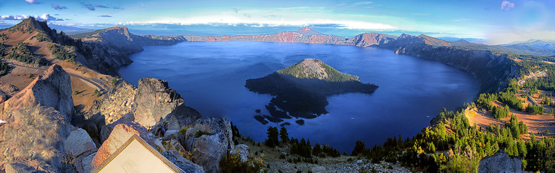 Crater Lake Oregon - We think this merge of 12 shots came out pretty well. It depicts the captivating presence of this landmark lake in Oregon state that manages to draw thousands of visitors every year. Each photo was edited before the merge to equalize contrast and exposure. Additional editing of the composite was then done to arrive at the finished image.