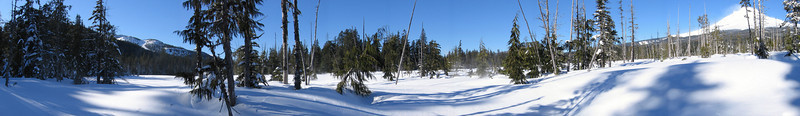 <b>Mt. Hood snowfield</b> <i>Snowshoeing trip, Feb. 2008</i> Note the snow blowing off the top of the mountain.  Despite the serenity of the picture, it was a really windy day.