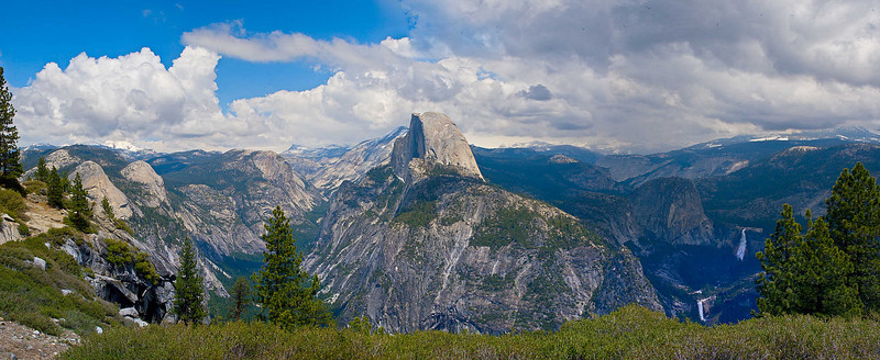 Canon 20D Lens: 45 mm tilt/shift  3 rows x 9 columns stitched in PTGui panorama software, processed in Photoshop CS3, Colorspace: LAB  Glacer Point, Yosemite  May 29, 2008