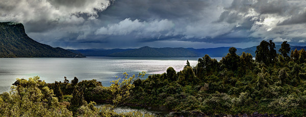Panorama of Lake Waikaremoana, Te Urewera National Park, New Zealand