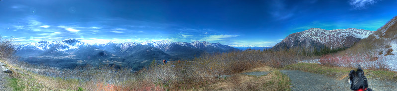 An 3 exposure HDR panorama taken from Mt. Robert's above the top of the tramway in Juneau Alaska, Mt. Juneau is on the Right, Douglas Island are the snow covered peaks with the largest being Mt. Jumbo, in the center & left which is separated from Juneau by the Gastineau Channel, my friends dog 'Poppy' is on the right side of the photo.  Shot with a Nikon d700 on  a Nodal Ninja Head, edited in PT GUI, Photomatix & Photoshop CS 5.