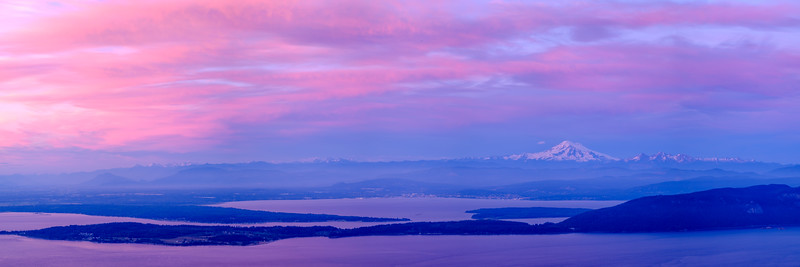 Mt. Baker at sunset from Mt. Constitution, Orcas Island - Panorama