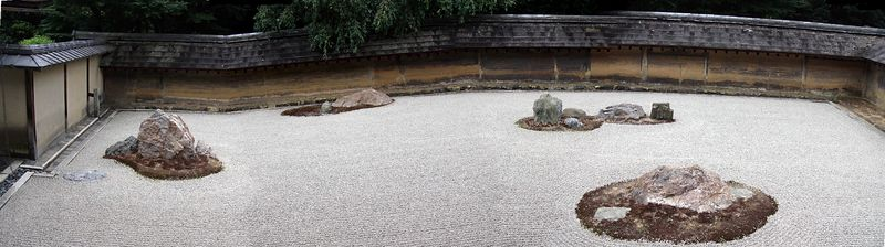 Kyoto's most famous rock garden. Panorama composed of 5 shots.