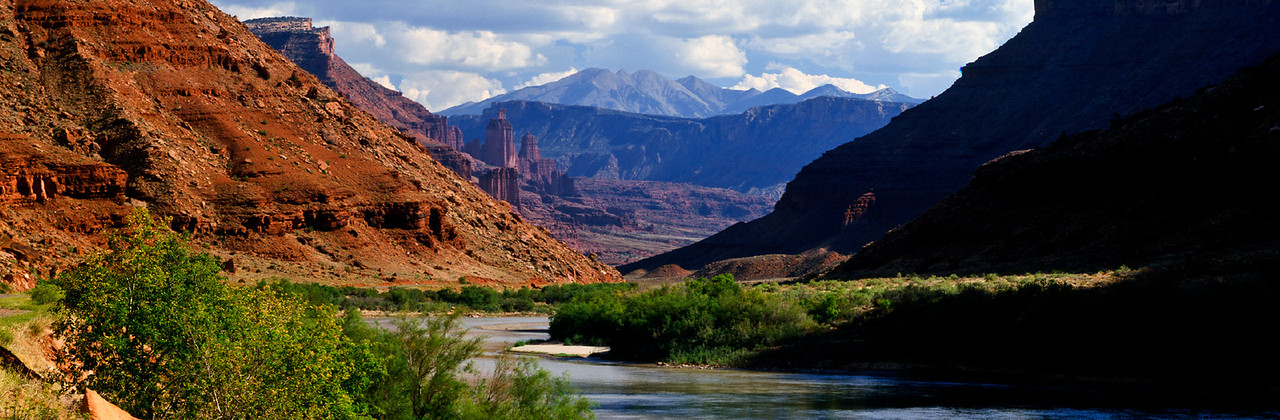 Colorado River Valley, Fisher Towers and La Sal Mountains
