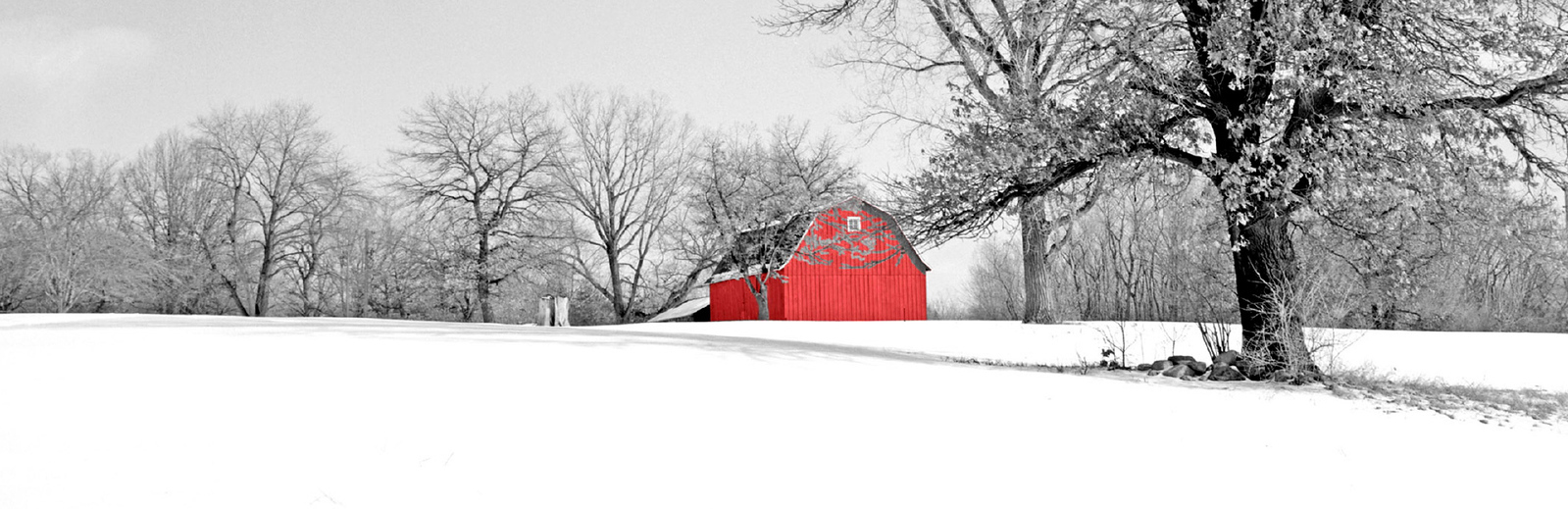 Red Barn in Winter's Snow