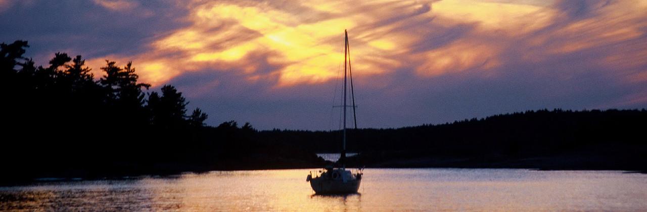 Sailboat at Sunset, Lake Huron
