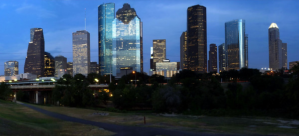 Houston Skyline at dusk in Panorama; 5 images stitched together to make one really wide photo.