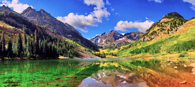 This is a panoramic image.(3 images stitched together).  Exposure was varied in processing and then processed in Dynamic Photo HDR 4 software.  The photos is 23MB.  Maroon Bells, September 10th, 2008
