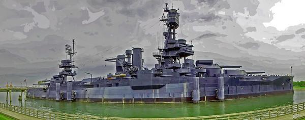 Battleship Texas in panorama