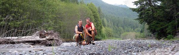 Bro & I in the Skookum riverbed while mtn biking