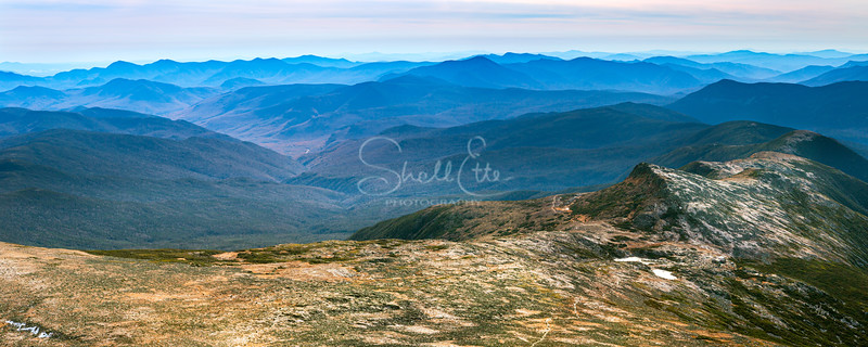 White Mountains Dressed in Blue Panoramic