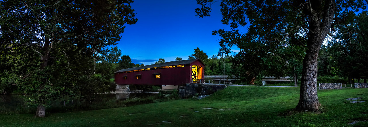 Cataract Covered Bridge at Twilight - Indiana