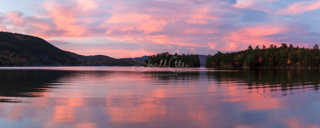 Newfound Lake from Wellington State Park Sunset Pano