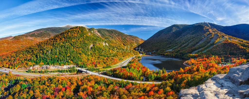 Snow Capped Franconia Notch in Autumn Panoramic 2015