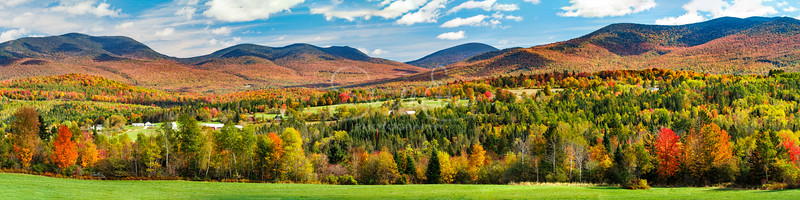 Autumn Vista in the Valley of Mount Waumbek and Cabot Mountain
