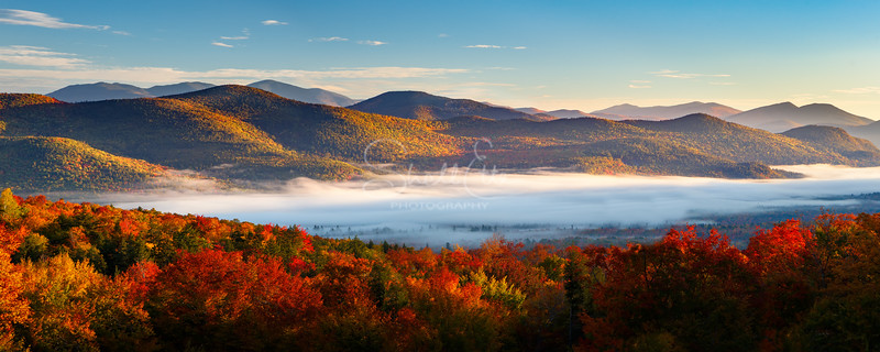Sunrise Autumn Fog Over Bartlett NH