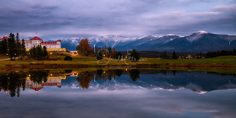 Dusk at the Mount Washington Resort and the Presidential Mountains