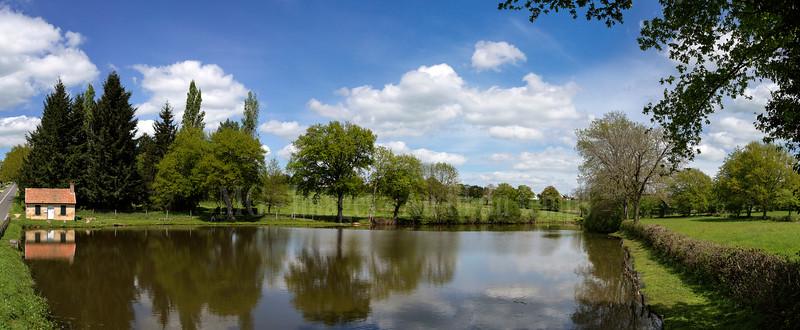 Allier, étang du Hazard, panoramique 7 images, f/8, 1/350, iso 200, 35 mm