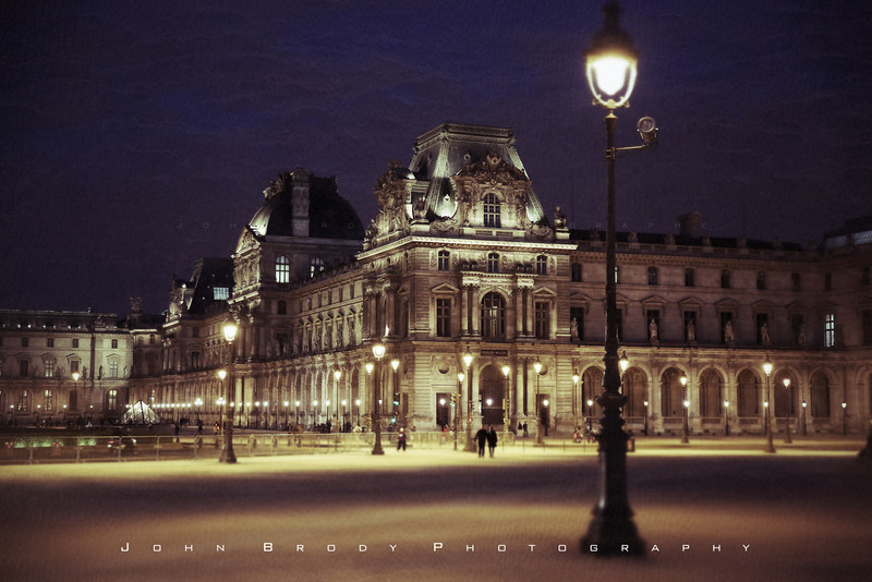 Low key shot of the Louvre at dusk.