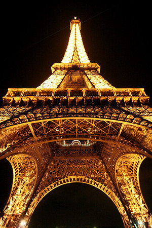 Eiffel Tower from base at night