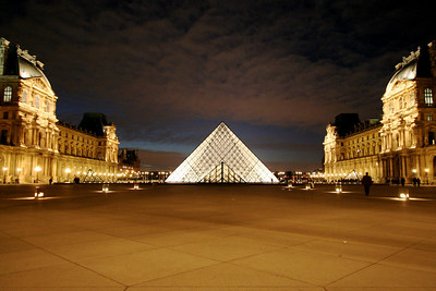 Courtyard of the Louvre at night