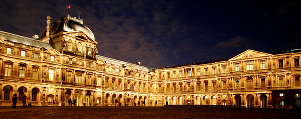 Pavillon de l'Horloge at the Louvre at night (panoramic)