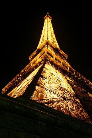 Eiffel Tower from southwest leg (night)