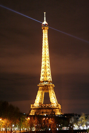Eiffel Tower across Seine at night