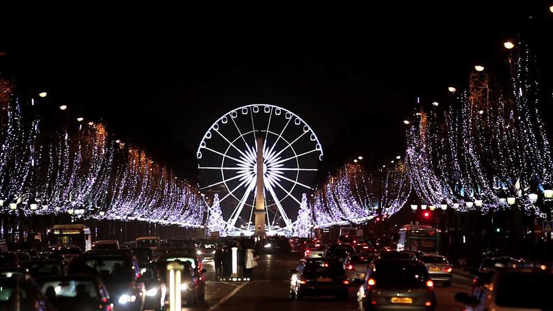 The Christmas lights of Champs-Elysées, Paris, by night.