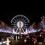 The Christmas lights of Champs-Elysées, Paris, by night.