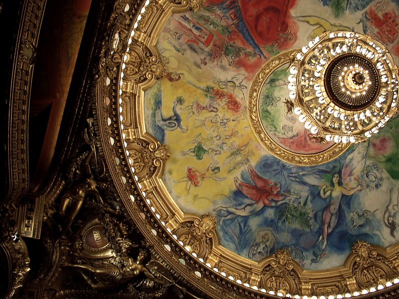 Partial shot of Chagall ceiling at the Opera Garnier