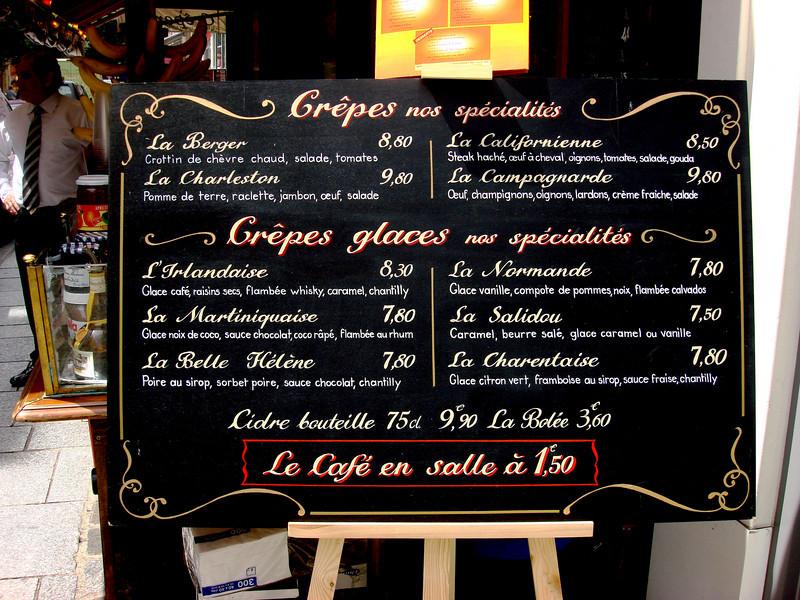 Crepe Restaurant in Paris France