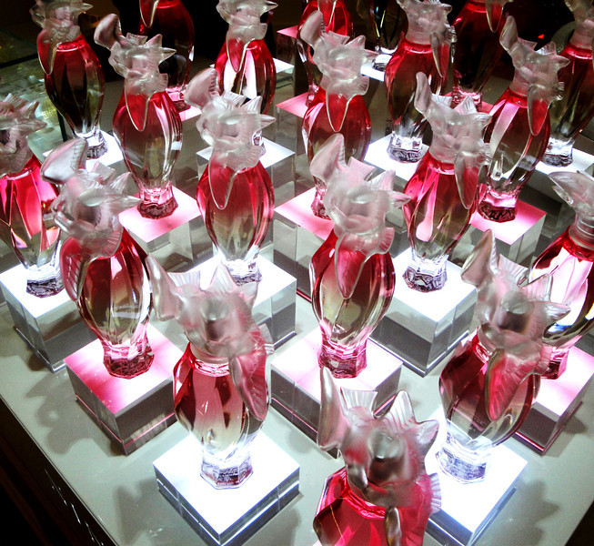 Bottles of Perfume in Department Store in Paris France