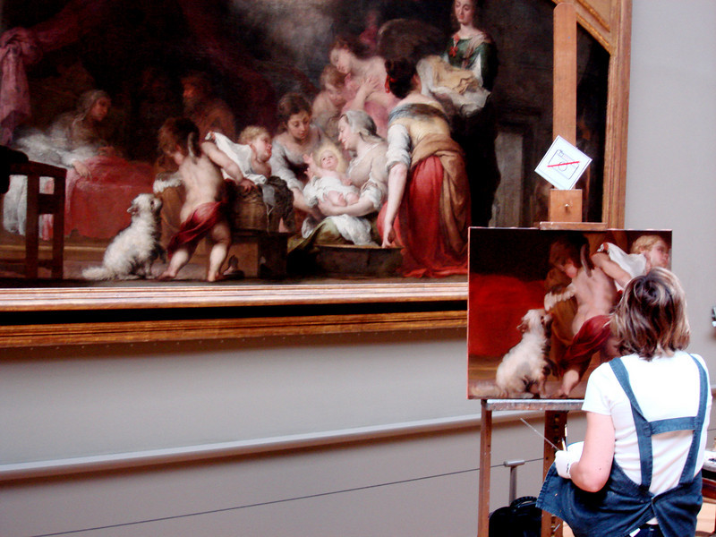 Young Painter at work in the Louvre in Paris France