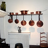 Nice set of copper pans in a Parisian kitchen