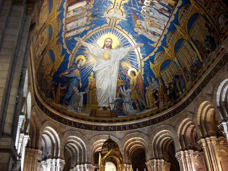 Inside Sacre de Coeur Basilica in Paris