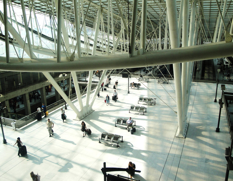 Inside Charles de Gaulle Airport near Paris France