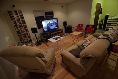 Extreme wide angle shot of the living room with some last minute additions (and I'm not referring to the new TV)