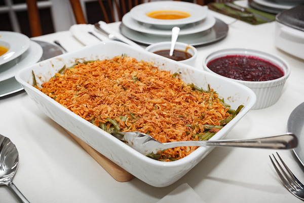 Green bean casserole with French onions