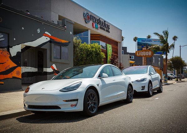 Valerie and I arrive at the main venue for today's party...Fly Studios in Redondo Beach.  I know.  It is SO typically L.A. of us to drive to a venue in separate cars, but there IS a good reason for both of our Teslas to be here.