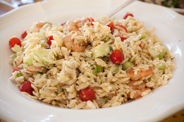 Shrimp orzo with mustard dill vinaigrette